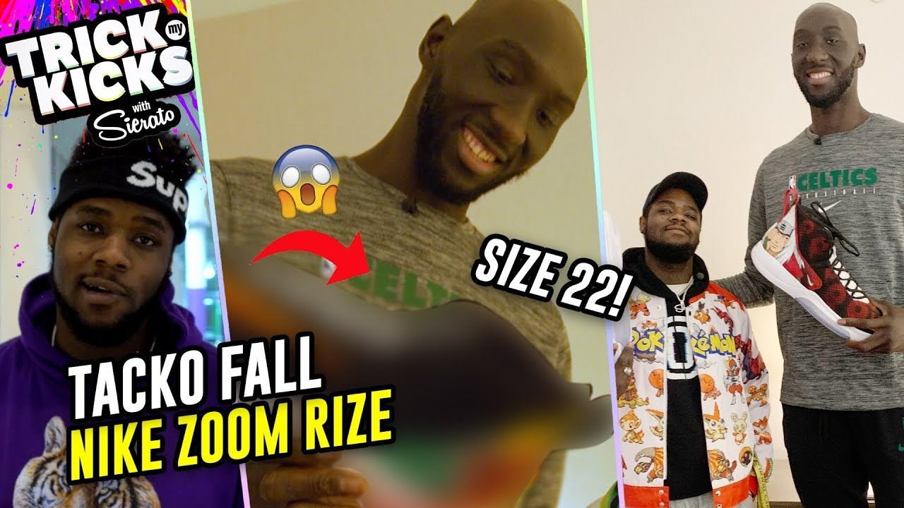 """7'7"""" Tacko Fall Gets RIDICULOUS Size 22 Customs! #1 Sneaker Designer In World Sierato GOES OFF💧"""