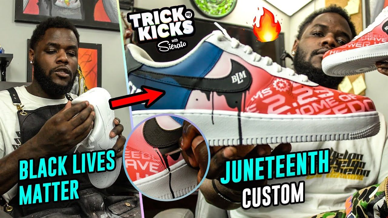 World's #1 Sneaker Artist Makes Juneteenth AF1s! Sierato Spreads BLM Message W/ Opal Lee & Niko Brim